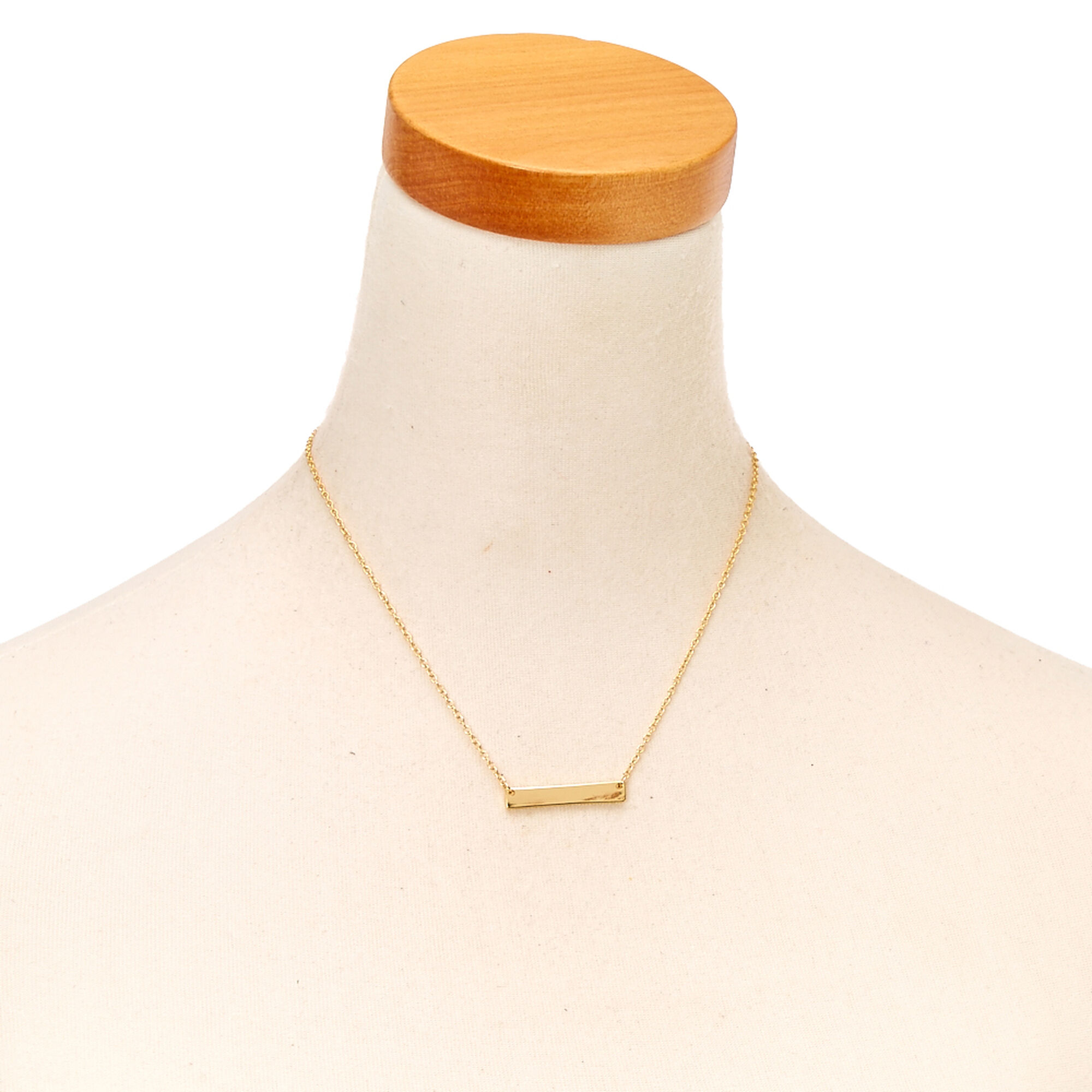 signature gold sides bar long necklace products monogram elvie engravable on mini