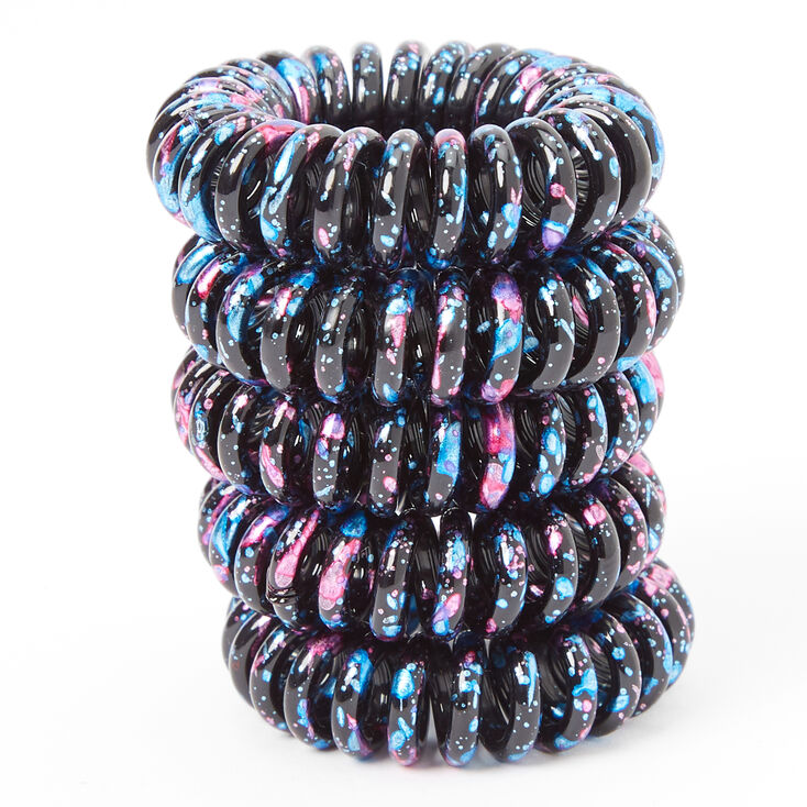 Black Splatter Mini Coil Hair Ties - 5 Pack,