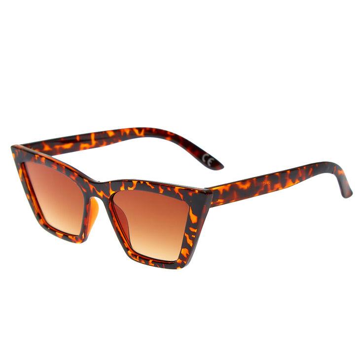 1950s Glasses, Sunglasses History for Women Icing Tortoiseshell Rectangular Cat Eye Sunglasses $14.99 AT vintagedancer.com