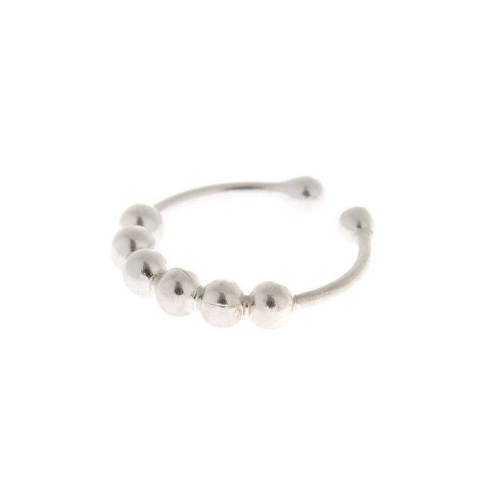 Sterling Silver Beaded Faux Nose Ring,