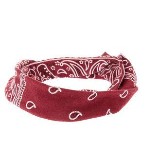 Paisley Print Bandana Headwrap - Burgundy,