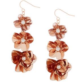 "2"" Sequin Flower Drop Earrings - Rose Gold,"