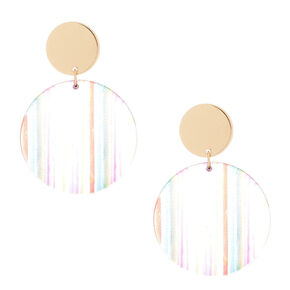 "Gold 2"" Round Striped Drop Earrings - Rainbow,"