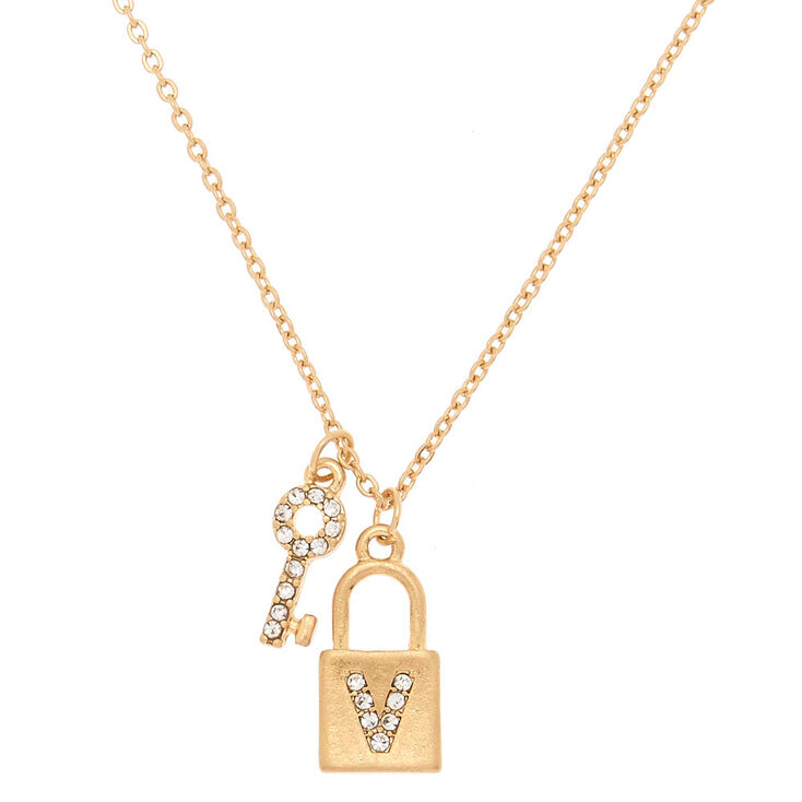 Gold Lock & Key Initial Pendant Necklace - V,