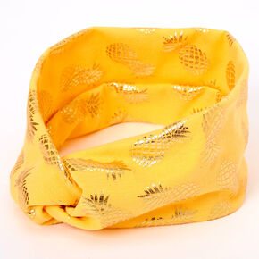 Metallic Pineapple Twisted Headwrap - Orange,