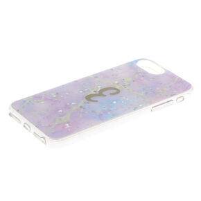 Lilac Marble Glitter Initial Phone Case - E,