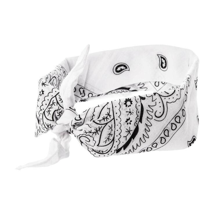 Paisley Bandana Headwrap - White,