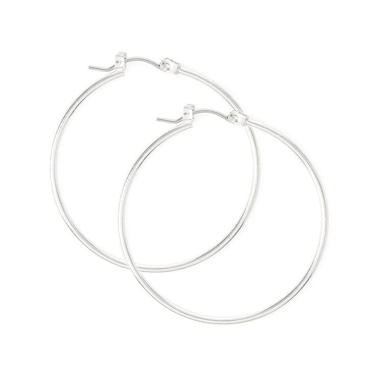 Silver 40MM Thin Hoop Earrings,