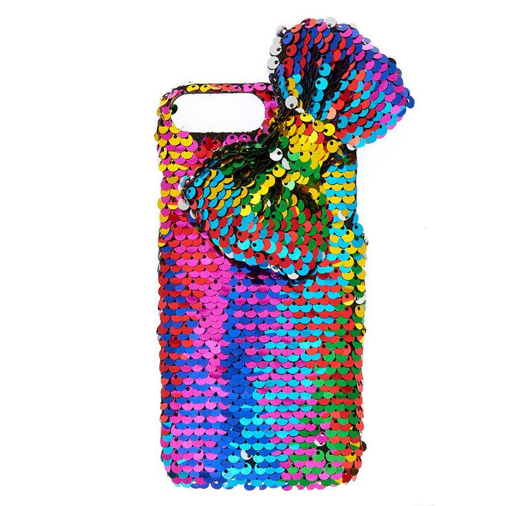 Rainbow Bow Reversible Sequin Phone Case - Fits iPhone 6/7/8 Plus,