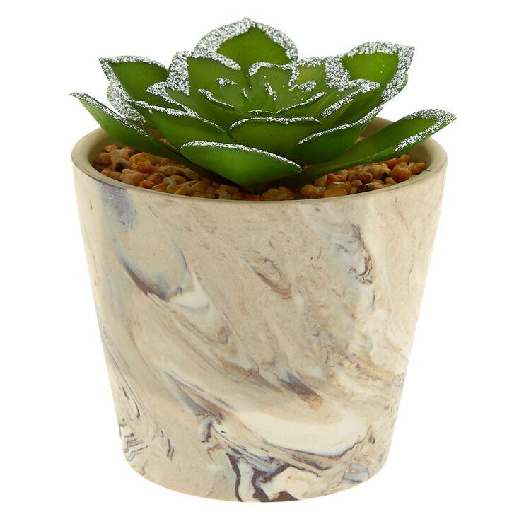 Marble Glitter Faux Succulent Plant - Gray,