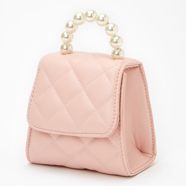 Quilted Crossbody Pearl Handle Bag - Pink,