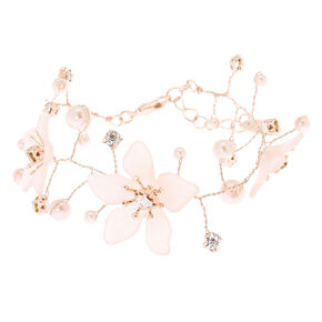 Rose Gold Frosted Flower Statement Bracelet,