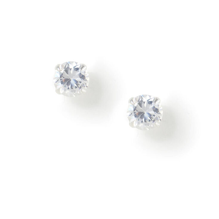 Sterling Silver Cubic Zirconia 5MM Round Stud Earrings,