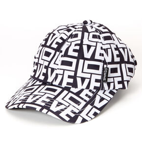 Love Block Letters Baseball Cap - Black,