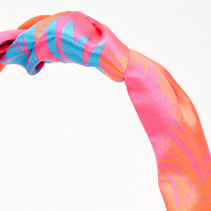 Palm Print Knotted Bow Headband - Pink,