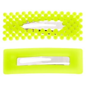 Beaded Matte Rectangle Snap Hair Clips - Neon Yellow, 2 Pack,