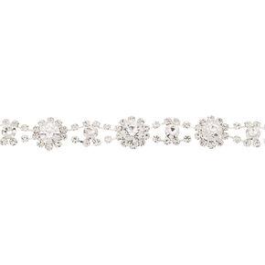 Silver Rhinestone Glam Choker Necklace,