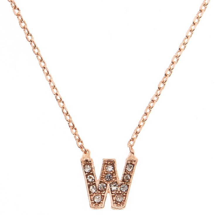 """Rose Gold Studded """"W"""" Initial Necklace,"""
