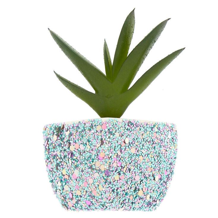 Magnetic Glitter Faux Succulent Plant - Blue,