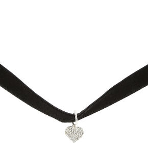 Black Velvet Choker with Crystal Heart Pendant,