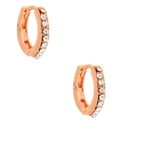 18kt Rose Gold Plated Delicate Clicker Hoop Earrings,
