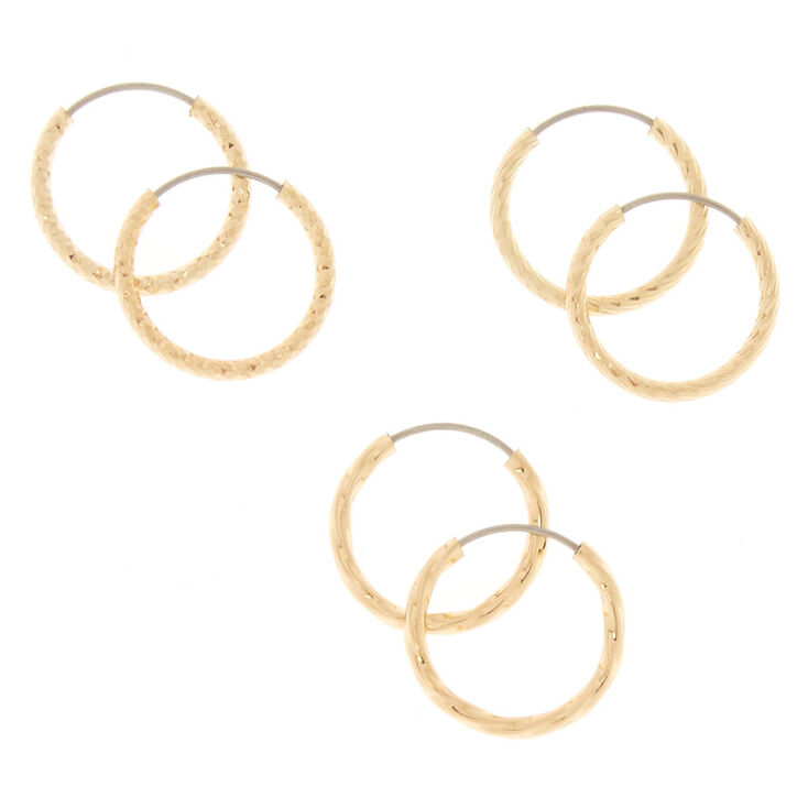 Mini Textured Hoop Earrings,