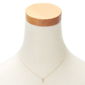 Rose Gold Initial Pendant Necklace - F,