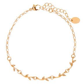 Gold Crystal Leaf Chain Anklet,