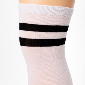Black Striped Over the Knee Socks - White,