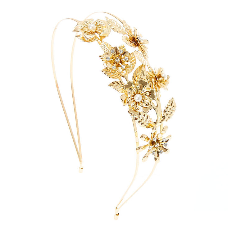 Gold Flowers & Leaves Double Row Headband,