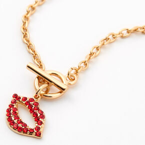 Red Lips Toggle Pendant Necklace - Gold,