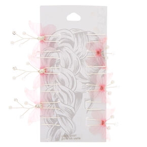 Embellished Butterfly Hair Pins - Pink, 6 Pack,