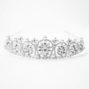 Silver Rhinestone Pearl Charlotte Tiara,