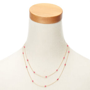 Gold-Tone Pink Beaded Multi Strand Necklace,