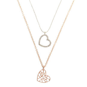 Mixed Metal Filigree Heart Pendant Necklaces - 2 Pack,