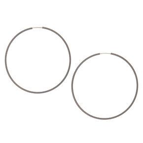 Hematite Hoop Earrings - 60MM,