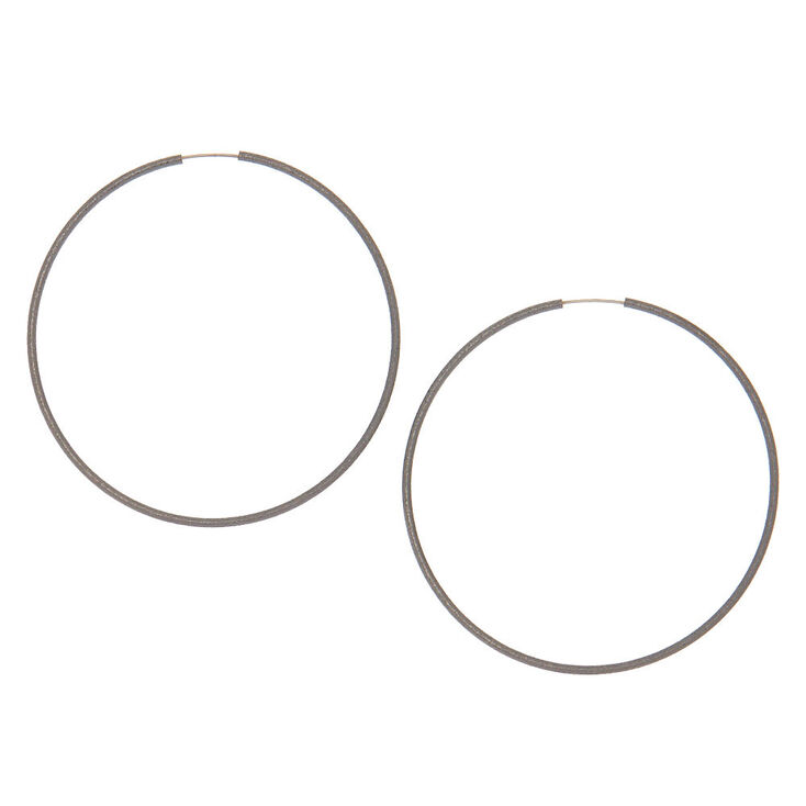 Hematite Hoop Earrings - 60MM,