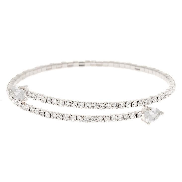 Mixed Media Wrap Bracelet in Silver Tones Presh Bracelet Silver Wrap Bracelet Varied Metal Chain Bracelet Crystal Rhinestone Bracelet