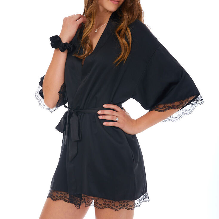 Lace Trim Satin Robe - Black,