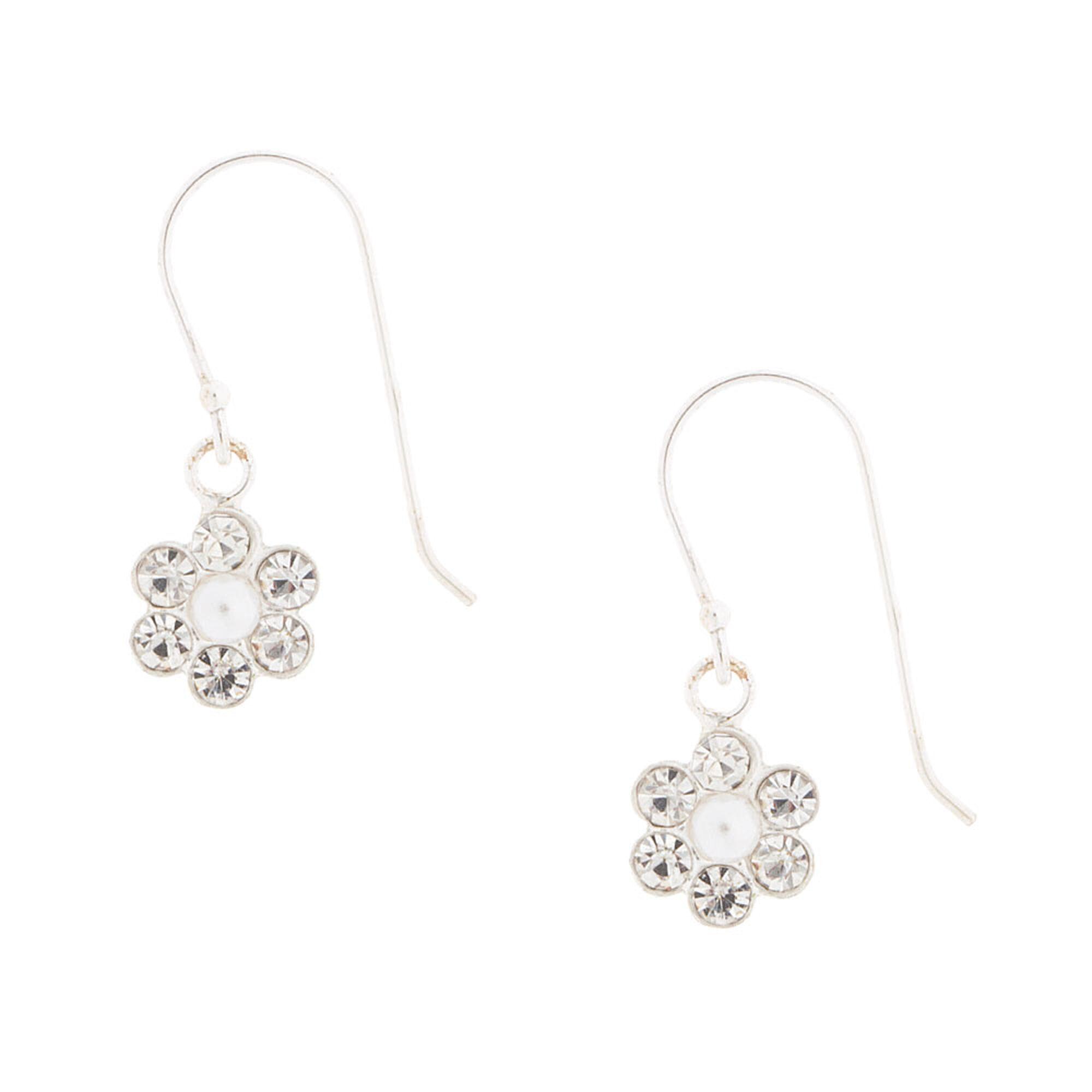 2537862370 Crystal & Pearl Daisy Drop Earrings