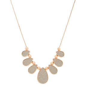 Silver Tear Drop Glitter Statement Necklace,
