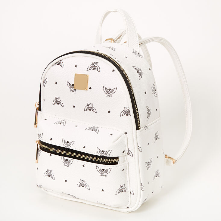 Love Angel Wings Small Backpack - White,