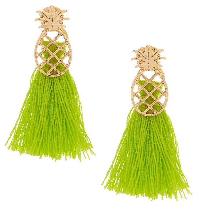Green Pineapple Front & Back Tassel Earrings,