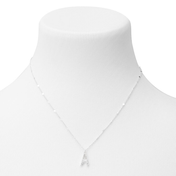 Silver Half Stone Initial Pendant Necklace - A,