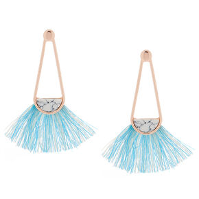 "2"" Marbled Tassel Drop Earrings - Blue,"