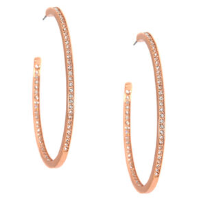 50MM Rose Gold-Tone Studded Hoop Earrings,