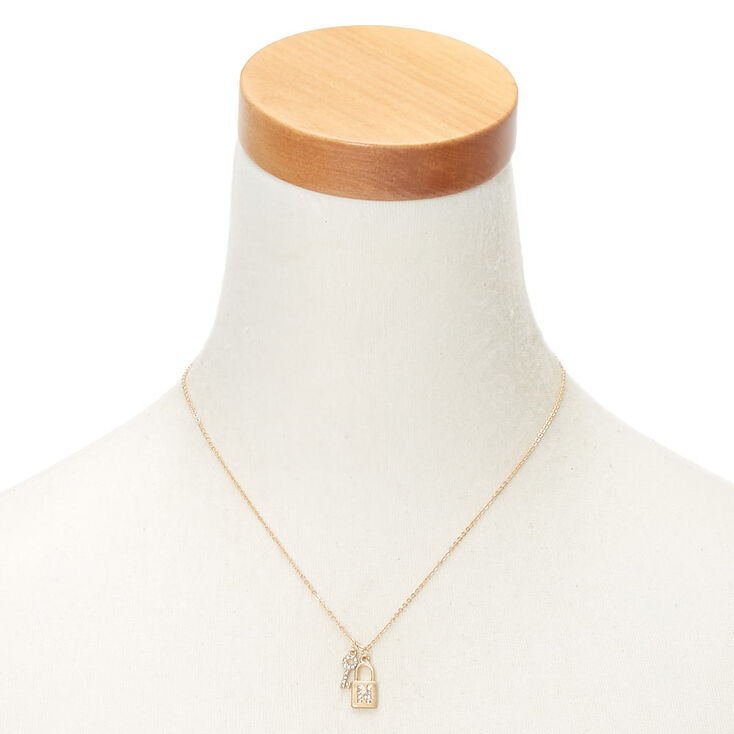 Gold Lock & Key Initial Pendant Necklace - N,