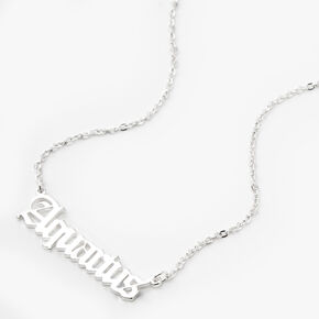 Silver Gothic Zodiac Pendant Necklace - Aquarius,
