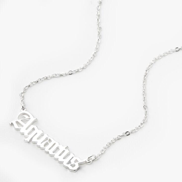 Silver Gothic Zodiac Pendant Necklace - Aquarius,