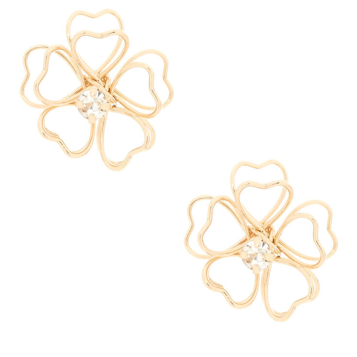 Gold-Tone Wire Flower Stud Earrings,